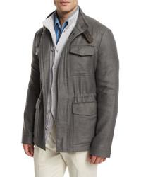 Loro Piana Traveler Shadow Plaid Cashmere Field Jacket Gray