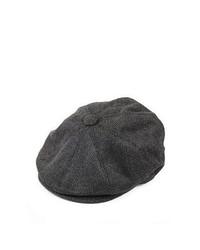 Jaxon Hats Herringbone Newsboy Cap Charcoal