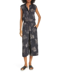 Vince Woodblock Floral Sleeveless Jumpsuit