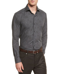 Ermenegildo Zegna Floral Print Flannel Sport Shirt Charcoal