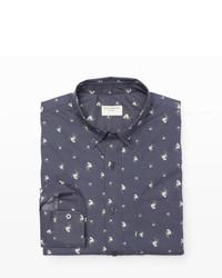 Slim fit blur floral shirt medium 249187
