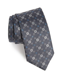 David Donahue Geometric Flower Silk Tie
