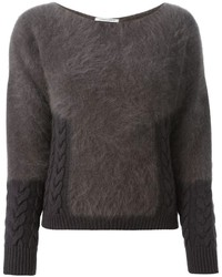 Charcoal Fluffy Crew-neck Sweater