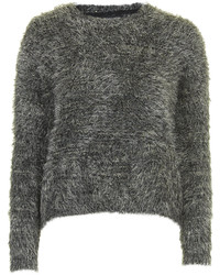 Soft fluffy jumper with multi tonal flecks of camel grey and white running throughout cut in a neat fit with a crew neck 78 nylon 22 acrylic machine washable medium 125638