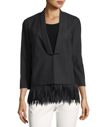 Brunello Cucinelli Fringed Stretch Wool Blazer Charcoal