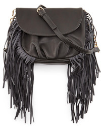 Charcoal Fringe Leather Crossbody Bag