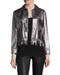 Charcoal Fringe Leather Jacket