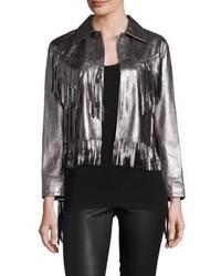 Polo Ralph Lauren Metallic Leather Fringe Jacket