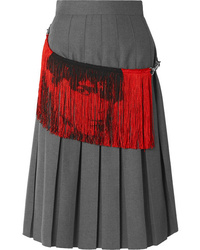 Calvin Klein 205W39nyc Fringed Distressed Pleated Twill Skirt