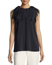 Brunello Cucinelli Silk Fringe Trim Sleeveless Top Dark Gray