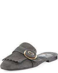 Prada Suede Kiltie Fringed Flat Mule Loafer