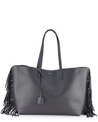Saint Laurent Large Calfskin Fringe Shopping Tote Bag Dark Gray