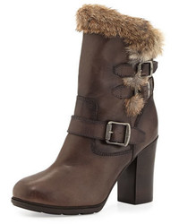 Charcoal Fur Ankle Boots
