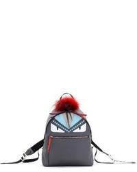 Fendi Monster Genuine Fur Trim Nylon Backpack Grey