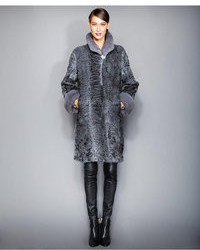 Mink fur trimmed persian lamb coat medium 108079