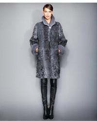 The Fur Vault Mink Fur Trimmed Persian Lamb Coat