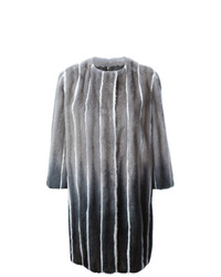 Fendi Striped Fur Cocoon Coat