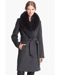 Charcoal Fur Collar Coat