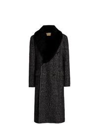 Burberry Detachable Shearling Collar Wool Coat