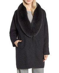 Genuine blue fox fur collar long coat medium 8649545