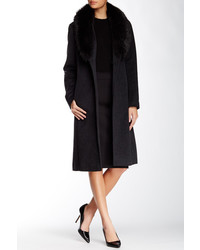 Ellen Tracy Genuine Fox Fur Trim Wool Blend Coat