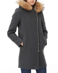 Sandro Mary Fur Trim Coat