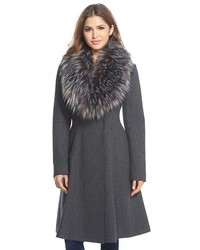 Vera Wang Serena Faux Fur Collar Wool Blend Fit Flare Coat