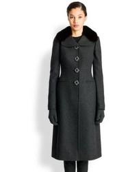 Dolce & Gabbana Wool Fur Trimmed Coat