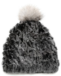 Mitchies Matching Rabbit Fur Knit Hat