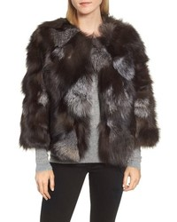 Linda Richards Genuine Silver Fox Cropped Jacket
