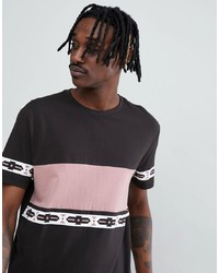 ASOS DESIGN Relaxed T Shirt With Colour Block And Aztec Print