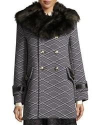 Marc Jacobs Geo Diamond Techno Coat With Fur Collar