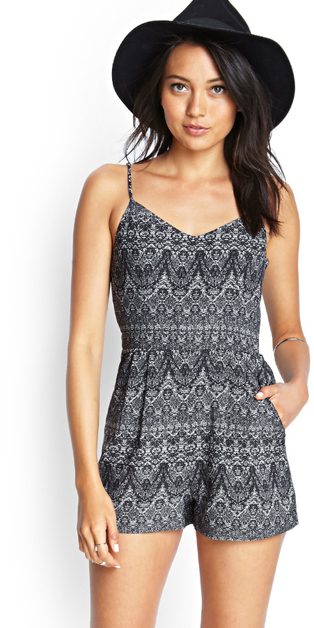 5537bfa41 Forever 21 Abstract Tribal Print Romper, $24 | Forever 21 | Lookastic.com