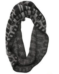 Granite and charcoal cashmere fairisle circle infinity scarf medium 118173