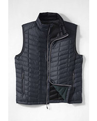 Lands' End Landsend Lightweight Down Heather Vest Gray Micro Herringbonel