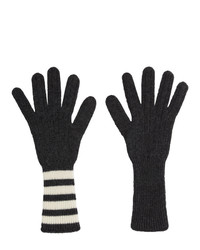 Thom Browne Grey Four Bar Stripe Gloves