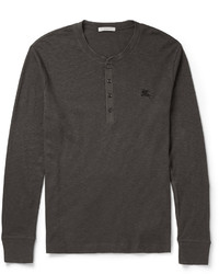 Burberry Brit Slim Fit Ribbed Cotton And Wool Blend Henley T Shirt