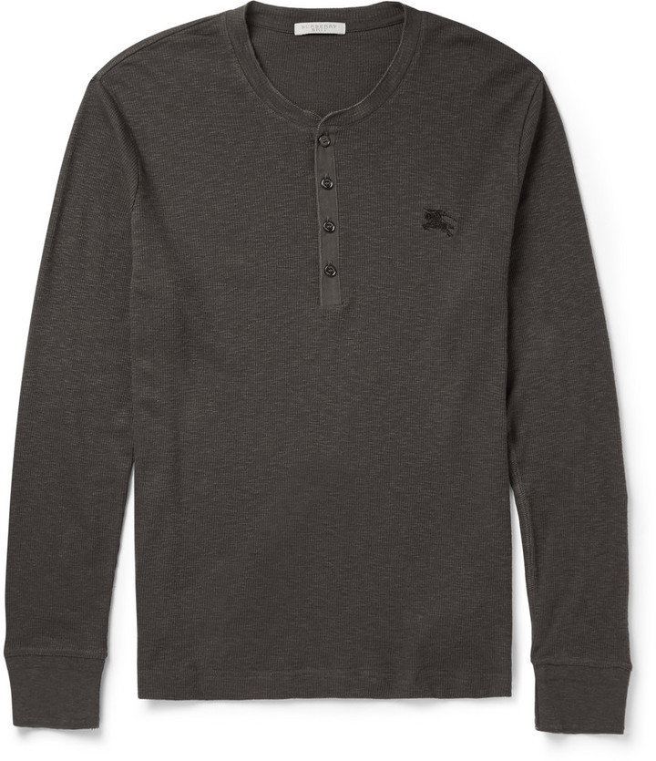 $225, Burberry Brit Slim Fit Ribbed Cotton And Wool Blend Henley T Shirt