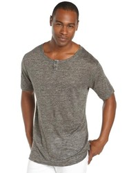 Matiere Charcoal Marled Linen 2 Button Short Sleeve Henley