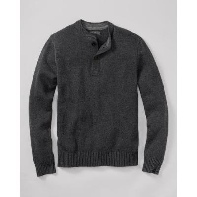 Eddie Bauer Signature Cotton Henley Sweater Dark Charcoal Heather Xxxl Regular Regular
