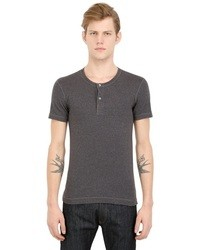 Dolce & Gabbana Mini Rib Cotton Jersey Henley T Shirt