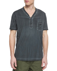 Pigt dyed short sleeve henley tee charcoal medium 232053