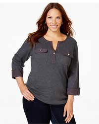Charter Club Plus Size Solid Henley Top Only At Macys