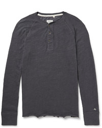 Rag and Bone Rag Bone Long Sleeved Cotton Jersey Henley T Shirt