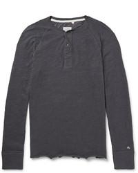 Rag and Bone Rag Bone Long Sleeved Cotton Jersey Henley T Shirt