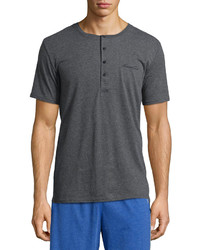 Kenneth Cole Short Sleeve Henley Tee Dark Gray Heather