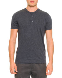 Short sleeve henley tee gray medium 232059