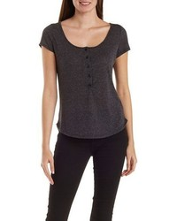 Charlotte Russe Slub Knit Henley Tee With Dolphin Hem