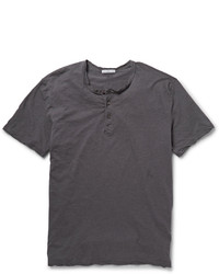 James Perse Washed Slub Cotton Jersey Henley T Shirt