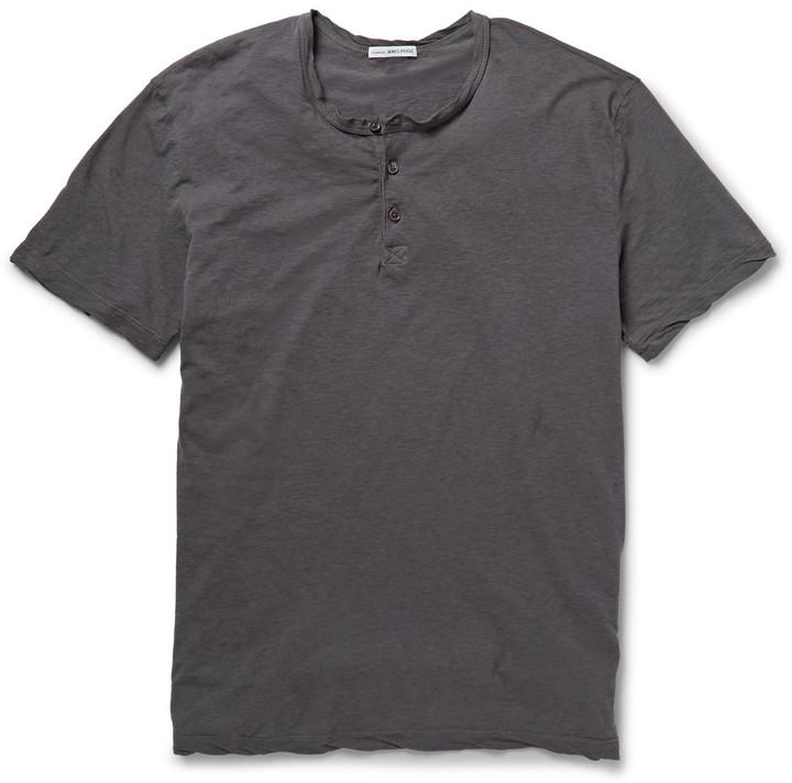 ... James Perse Washed Slub Cotton Jersey Henley T Shirt ...